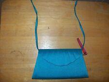 NEW Jacques Vert Teal Peau de Soie Textured Evening Bag Shell Design Convertible