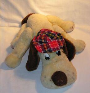 "Vintage 1970s Pound Puppies Plush Toy BLack White & Brown Dog no tag 14.5"" long"