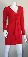 Tom And Linda Platt Red Twist Front Draped Long Sleeve Empire Shift Dress 4 S SM