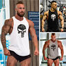 Men Sleeveless Fitness T-shirt Gym Singlet Punisher Bodybuilding Tank Top Vest