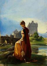 Len Thurston ORIGINAL book cover ARTWORK castle lady demon lover victoria holt