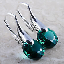 925 Sterling Silver Leverback Earrings Classic Cut Emerald Swarovski® Crystals