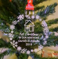 2020 Personalised First Christmas in new home bauble, decoration, Ribbon Choice