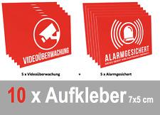 10 x Aufkleber Set Videoüberwachung + Alarmgesichert, 5+5, Warnaufkleber, 7x5cm