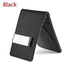 Fashion Men Leather Money Clip Slim Wallets Purse Black ID Credit Card Holder