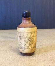 More details for old interesting looking vintage chinese snuff bottle harvest gathering design