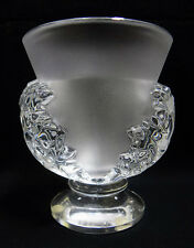 LALIQUE FRANCE ST. CLOUD HEAVY CRYSTAL FROSTED VASE WITH ACANTHOS LEAVES