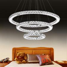 Weiß 96W Kristall LED Deckenlampe 3 Ring Hängelampe Pendelleuchte Kronleuchter