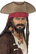 Mens Long Beaded Dreadlock Bandana Pirate Rasta Fancy Dress Costume Outfit Hat