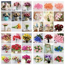 Artificial Fake Silk Leaf Rose Flower Peony Hangng Garland Wedding Decor Bouquet