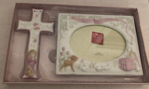 Russ Baby's Baptism Christening Dedication Gift Set Cross Picture Frame Pink New