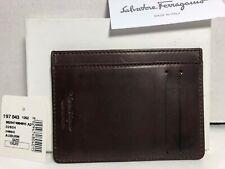 NEW Salvatore Ferragamo Brown Selleria Leather ID Credit Cards Cash Case Wallet