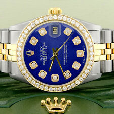 Rolex Datejust 2-Tone Gold/Steel 31mm Womens Watch w/Blue Dial & Diamond Bezel