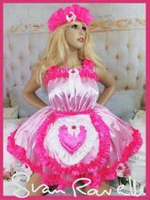 Sian Ravelle PINK Satin Adult Baby Sissy Maid Wench Dress Belt Apron & Headband
