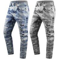 New Men Denim Jeans Ripped Distressed Slim Fit Acid Wash Black Blue  32-44