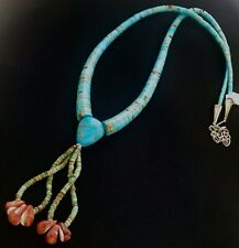 💜SANTO DOMINGO PUEBLO Jacia Turquoise Sterling Silver Artisan Necklace NWT