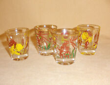 Set of 4 1950's Native Shot Glasses Brown & Yellow - Bottoms Up & Looking at You