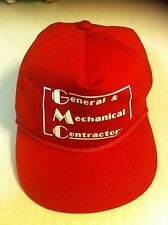 GMC General Mechanical Contractor Red Baseball Cap Hat Vintage one size fits all