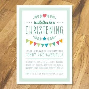 Personalised Joint Christening Naming Day Baptism invitations thank you girl boy