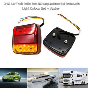 2PCS 12V Truck Trailer Boat LED Stop Indicator Tail Brake Light Turn Signal Lamp