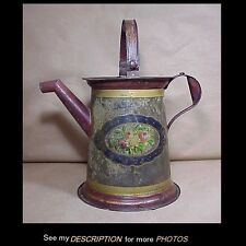 Large Antique Victorian Tole Toleware Paint Decorated Pail with Pour Spout