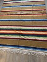 Vintage Mexican Southwest SaltIllo Serape Blanket Rug Earth Tones Approx 60 x 94