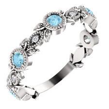 Platinum Aquamarine and Diamond Leaf Ring Size 7