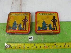 prewar meccano parts tins x2 & nuts  / bolts model part mixed lot n02