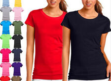 AU STOCK LADIES 100% COTTON PLAIN BASIC SLIM TOP TEE T-SHIRT SZ 8-24 T165