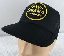 Vtg RWS Diana Air Guns Hat Snapback Trucker Cap Patch Mesh Black