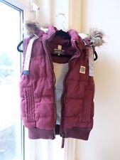 Superdry Maroon Fleece-lined Gilet with detachable hood (UK Size 6)