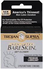 Trojan Supra Non-Latex Bareskin - 3 Pack Lubricated Condoms Valentine New Adult
