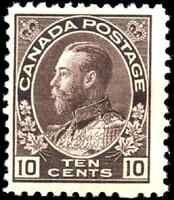 Canada #116 mint F-VF OG HR 1912 King George V 10c plum Admiral CV$260.00