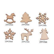 100 PCS Christmas Carve Natural Wood Chip Xmas Tree Pendant Ornament