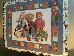 """Blue Jean Teddy Baby Blanket Quilted Comforter """"Except my Blue Jean Teddy Bear"""""""