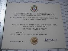 US ARMY RETIREMENT CERTIFICATE blank DD original for replacement Vuono signed