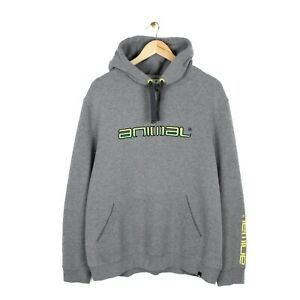 Animal Vintage Y2K Mens Spell Out Embroidered Logo Grey Hoodie - Size XL