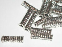 50 Antique Silver plated 14x4mm tube spacer beads brick pattern -- 50 pc (9035)