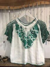 Vintage White Embroidered Gypsy Top 6 8 10 Boho Bohemian Gypsy Hippy Green Irish