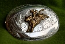 Old Vintage STERLING SILVER BULL RIDER BK SILVERSMITHS BELT BUCKLE-Rodeo Western