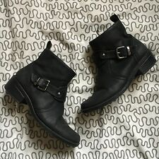 Anne Klein AK Loyola Black Faux Leather Round Toe Boot Bootie size 6.5