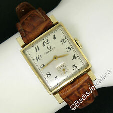 Vintage Men's 14K Yellow Gold Omega Manual Wind Fancy Convex Square Wrist Watch
