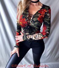 Women's Camo Floral Print Plunge Lace Up Low Cut Long Sleeve Bodysuit Top