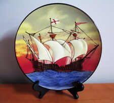 """Wall Plate Raised Ship Galleon Red Blue Porcelain 9 1/2"""" Signed Germany Vintage"""