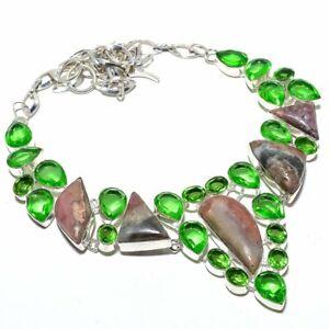 """Rhodochrosite & Peridot 925 Sterling Silver Jewelry Necklace 16-18"""" S2791"""