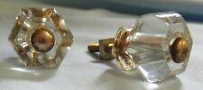 """2 Small 1"""" Vintage Glass Cabinet Dresser Desk Shutter Knobs"""