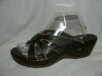 COLE HAAN NikeAir Shoes Women's Size 9.5B Brown Leather Slides Wedges Sandals