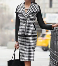 Ashro Black White Formal Dress Houndstooth Alivia Skirt Suit 6 10 12 24W