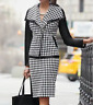 Ashro Black White Formal Dress Houndstooth Alivia Skirt Suit 6 10 12 24W