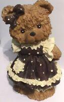 Piggy Bank Teddybear Girl in Pinafore Dress 23 cm x 17 cm hand painted